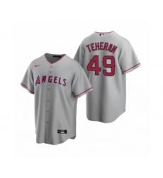 Men's Los Angeles Angels #49 Julio Teheran Gray Replica Road Jersey