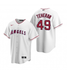 Men's Nike Los Angeles Angels #49 Julio Teheran White Home Stitched Baseball Jersey