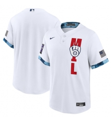 Men's Milwaukee Brewers Blank Nike White 2021 MLB All-Star Game Replica Jersey