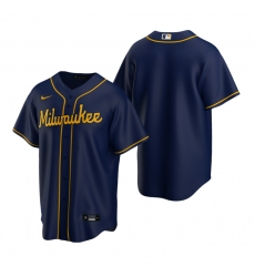 Men's Nike Milwaukee Brewers Blank Navy Alternate Stitched Baseball Jersey
