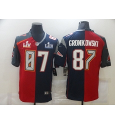 Men's Tampa Bay Buccaneers #87 Rob Gronkowski Blue Red Bowl LV Bowl LIII Limited Split Fashion Football Jersey