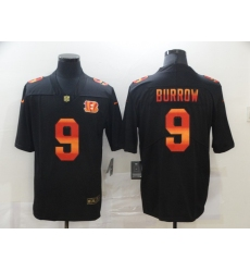 Men's Cincinnati Bengals #9 Joe Burrow Black colorful Nike Limited Jersey