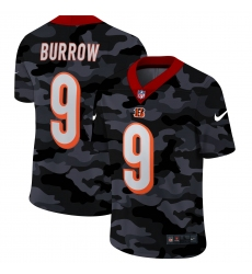 Men's Cincinnati Bengals #9 Joe Burrow Camo 2020 Nike Limited Jersey
