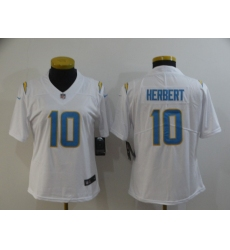 Women's Los Angeles Chargers #10 Justin Herbert White 2020 NFL Draft Vapor Limited Jersey