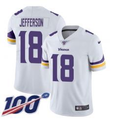 Men's Minnesota Vikings #18 Justin Jefferson White Stitched NFL 100th Season Vapor Untouchable Limited Jersey