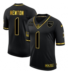 Men's New England Patriots #1 Cam Newton Olive Gold Nike 2020 Salute To Service Limited Jersey