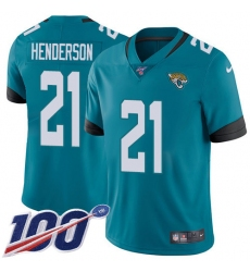Men's Jacksonville Jaguars #21 C.J. Henderson Teal Green Alternate Stitched 100th Season Vapor Untouchable Limited Jersey