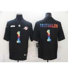 Men's Miami Dolphins #1 Tua Tagovailoa Rainbow Version Nike Limited Jersey