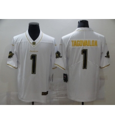 Men's Miami Dolphins #1 Tua Tagovailoa White Olive Gold Nike Limited Jersey