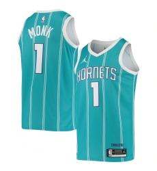 Men's Charlotte Hornets #1 Smalik Monk Jordan Brand Teal 2020-21 Swingman Jersey