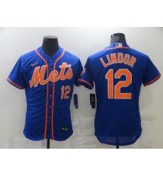 Men's Nike New York Mets #12 Francisco Lindor Blue Elite Jersey