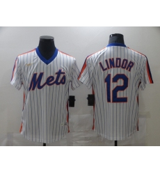Men's Nike New York Mets #12 Francisco Lindor White Authentic Jersey