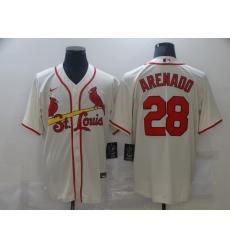 Men's St. Louis Cardinals #28 Nolan Arenado Nike Cream Alternate Official Replica Player Jersey
