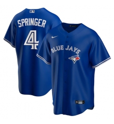 Men's Toronto Blue Jays #4 George Springer Blue Nike Royal Alternate Replica Player Jersey