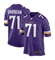 Men's Minnesota Vikings #71 Christian Darrisaw Nike Purple 2021 NFL Draft First Round Pick Game Jersey