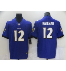 Men's Baltimore Ravens #12 Rashod Bateman Nike Purple 2021 NFL Draft First Round Pick Leopard Jersey