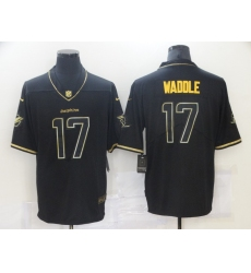Men's Miami Dolphins #17 Jaylen Waddle Black Nike 2021 Throwback Gold Leopard Jersey