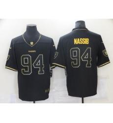 Men's Oakland Raiders #94 Carl Nassib Black Gold Nike Throwback Limited Jerseys