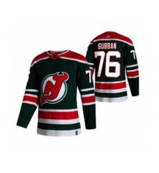 Men's New Jersey Devils #76 P.K. Subban Green 2020-21 Reverse Retro Alternate Hockey Jersey