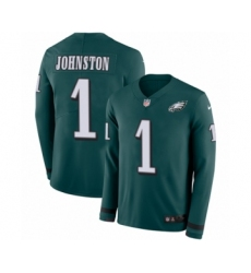 Men's Nike Philadelphia Eagles #1 Cameron Johnston Limited Green Therma Long Sleeve NFL Jersey