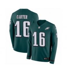 Men's Nike Philadelphia Eagles #16 DeAndre Carter Limited Green Therma Long Sleeve NFL Jersey