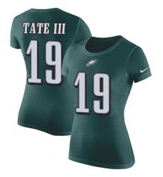 Women's Nike Philadelphia Eagles #19 Golden Tate III Green Rush Pride Name & Number T-Shirt