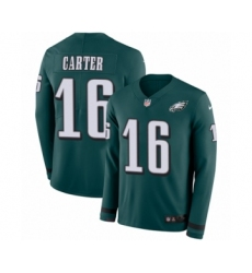 Youth Nike Philadelphia Eagles #16 DeAndre Carter Limited Green Therma Long Sleeve NFL Jersey