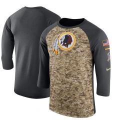 NFL Men's Washington Redskins Nike Camo Anthracite Salute to Service Sideline Legend Performance Three-Quarter Sleeve T-Shirt