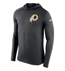 NFL Men's Washington Redskins Nike Charcoal Stadium Touch Hooded Performance Long Sleeve T-Shirt