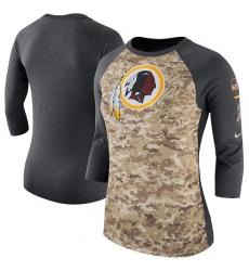 NFL Women's Washington Redskins Nike Camo Charcoal Salute to Service Legend Three-Quarter Raglan Sleeve T-Shirt