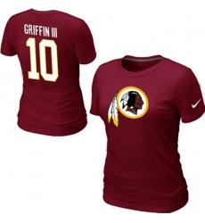 Nike Washington Redskins #10 Robert Griffin III Name & Number Women's NFL T-Shirt - Red