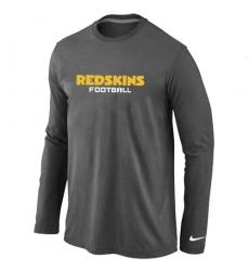 Nike Washington Redskins Authentic Font Long Sleeve NFL T-Shirt - Dark Grey