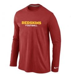Nike Washington Redskins Authentic Font Long Sleeve NFL T-Shirt - Red