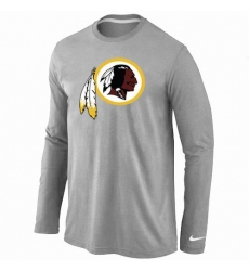 Nike Washington Redskins Team Logo Long Sleeve NFL T-Shirt - Grey