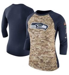 NFL Women's Seattle Seahawks Nike Camo Navy Salute to Service Legend Three-Quarter Raglan Sleeve T-Shirt