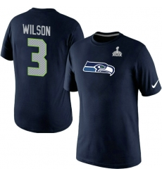 Nike Seattle Seahawks #3 Russell Wilson Name & Number Super Bowl XLIX NFL T-Shirt - Steel Blue
