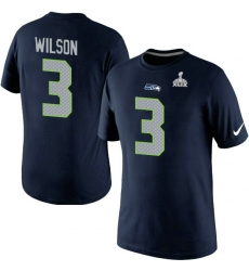 Nike Seattle Seahawks #3 Russell Wilson New Name & Number Super Bowl XLIX NFL T-Shirt - Steel Blue