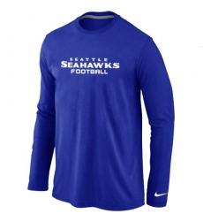 Nike Seattle Seahawks Authentic Font Long Sleeve NFL T-Shirt - Blue