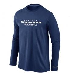 Nike Seattle Seahawks Authentic Font Long Sleeve NFL T-Shirt - Dark Blue