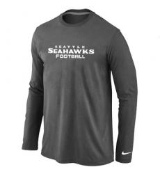 Nike Seattle Seahawks Authentic Font Long Sleeve NFL T-Shirt - Dark Grey