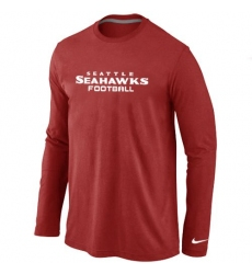 Nike Seattle Seahawks Authentic Font Long Sleeve NFL T-Shirt - Red
