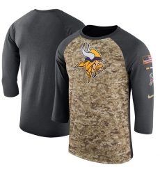 NFL Men's Minnesota Vikings Nike Camo Anthracite Salute to Service Sideline Legend Performance Three-Quarter Sleeve T-Shirt