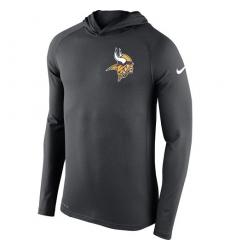 NFL Men's Minnesota Vikings Nike Charcoal Stadium Touch Hooded Performance Long Sleeve T-Shirt