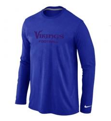 Nike Minnesota Vikings Authentic Font Long Sleeve NFL T-Shirt - Blue