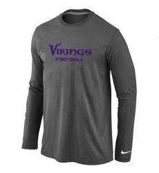 Nike Minnesota Vikings Authentic Font Long Sleeve NFL T-Shirt - Dark Grey