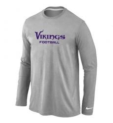 Nike Minnesota Vikings Authentic Font Long Sleeve NFL T-Shirt - Grey