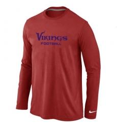 Nike Minnesota Vikings Authentic Font Long Sleeve NFL T-Shirt - Red