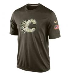 NHL Men's Calgary Flames Nike Olive Salute To Service KO Performance Dri-FIT T-Shirt