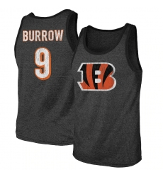 Men's Cincinnati Bengals #9 Joe Burrow Majestic Threads Black Name & Number Tri-Blend Tank Top.webp
