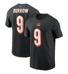 Men's Cincinnati Bengals #9 Joe Burrow Nike Black 2020 NFL Draft First Round Pick Player Name & Number T-Shirt.webp